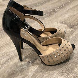 Rock & Republic Shoes - ROCK & REPUBLIC Studded Peep Toe Heels